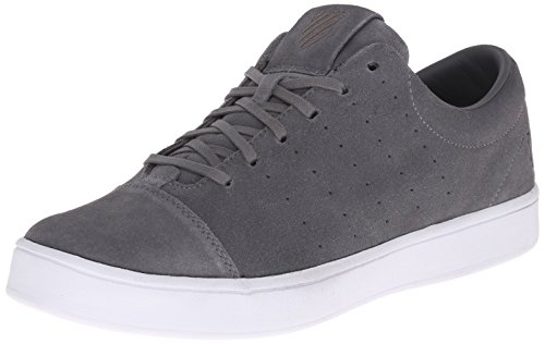 K-Swiss Men's Washburn Suede Fashion Sneaker, Charcoal/White, 10.5 M US