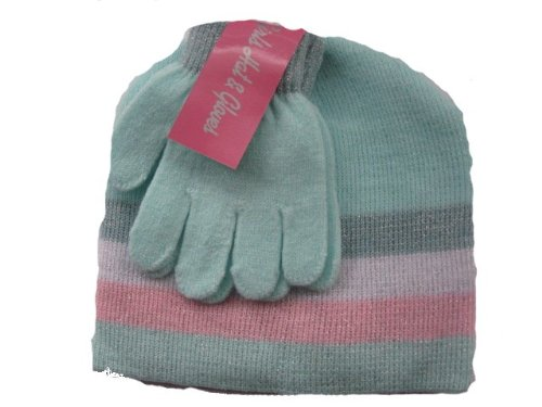 Girls Warm Winter Hat and Gloves Set Turquiose - Great Christmas Gift Idea