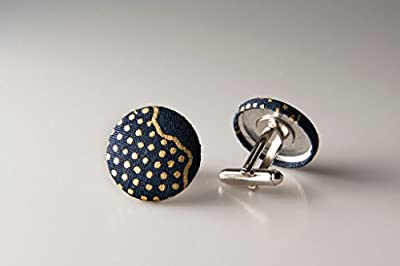 Cufflinks, Fabric button cufflinks, wedding cufflinks, groom cufflinks, African fabric cufflinks, Ankara cufflinks, Blue cuff links