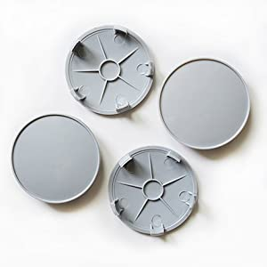 4 x UNIVERSAL ALLOY WHEEL CENTRE CAPS 68mm PLAIN GREY FOR AUDI BMW SEAT FORD VW (68mm)
