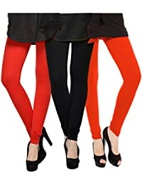 Kjaggs Women's Cotton Lycra Regular Fit Leggings Combo - Pack Of 3 (KTL-TP-1-2-13, Black, Red, Orange)