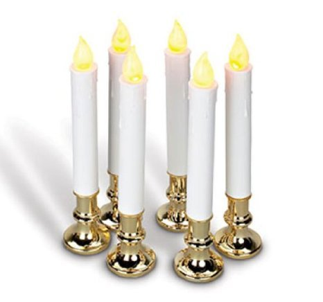 9 Inch Battery Operated Candolier Set Of 6 With Gold Color Base - Timer - Boc Select