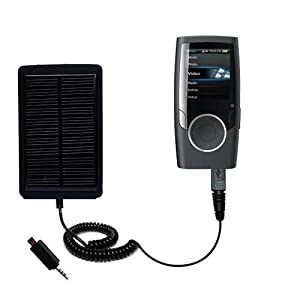 Solar Powered Rechargeable External Battery Pocket Charger for the Coby MP601 Video MP3 Player - uses Gomadic TipExchange Technology