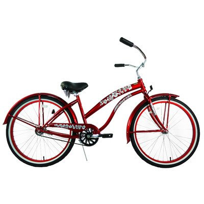Women's Single Speed Premium Beach Cruiser Frame Color: Red