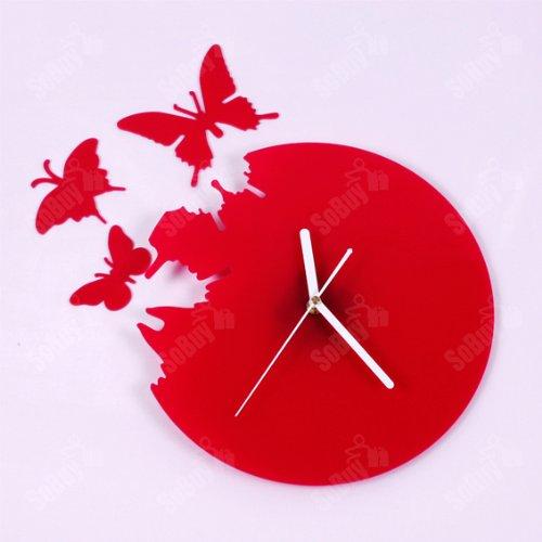 orologio decorativo acrilico orologio da cucina orologio da parete in forma di farfalla colore rosso so euh51 r offerte