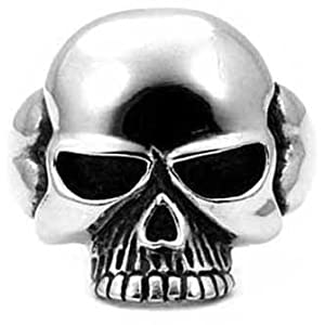High Polished Stainless Steel Skull Biker Ring