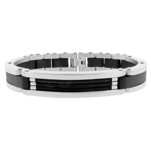 Men's Stainless Steel Rubber Bracelet with Black Plating and Cable, 8''