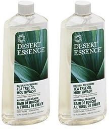 Desert Essence; Tea Tree Oil Mouthwash With Spearmint-(2 Pack of 16 oz)-Liquid