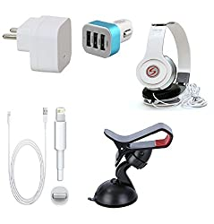 13Tech Premium Quality + Proper 1.5 Amp USB Charger + 1.5 meter Copper Embedded USB Cable (Data Transfer + Charging) + VM 46 3.5 mm Jack Headphones + 3 Jack USB Car Charger + Mobile Car Holder Compatible With Apple Iphone 6S