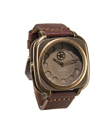 Welder Men's Quartz Watch with Brown Dial Analogue Display and Brown Leather Strap K47-4012