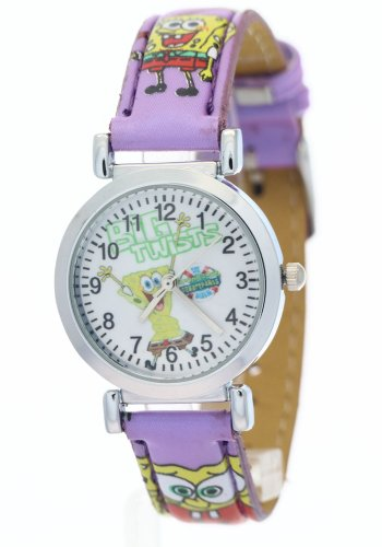TimerMall SpongeBob SquarePants Kids Purple Leather Watchband Waterproof Analogue Quartz Watches