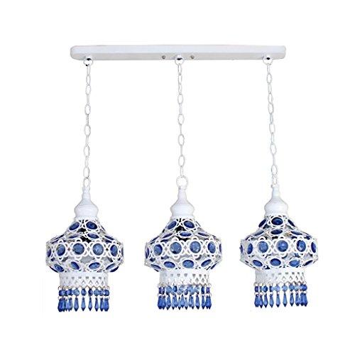 casa Monopoli Blu Perline lampadario in ferro Il Mar Mediterraneo retro LED Tre teste Chandelier -E14 ( colore : 2 )