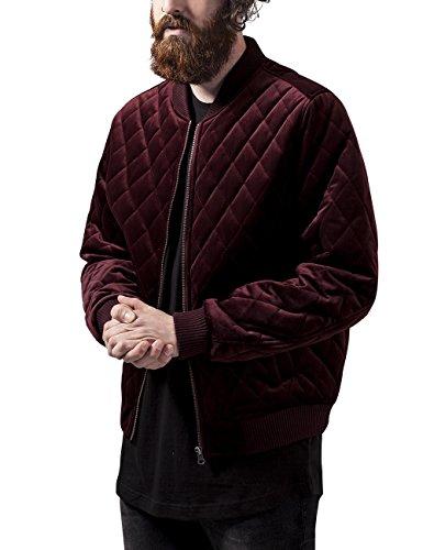 Urban Classics Diamond Quilt Velvet Jacket, Giacca Uomo, Rot (Burgundy 606), Medium