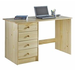 bureau enfant arne vernis naturel 4 tiroirs cuisine maison. Black Bedroom Furniture Sets. Home Design Ideas