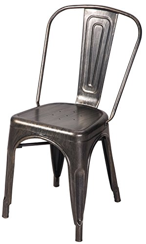 Merax High Back Steel Stackable Vintage Metal Dining Chair, Golden Black (Set of 2) 3