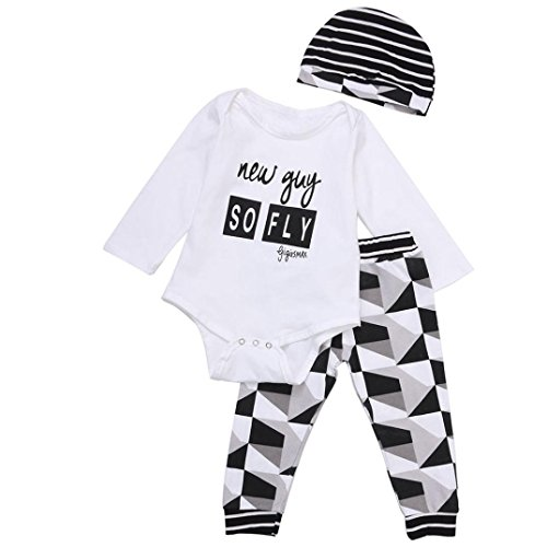 DEESEE(TM) Toddler Boy Outfit Clothes Print Romper Tops+Long Pants Trousers+Hat 1Set (100, White) (White Nail Polish Essie compare prices)