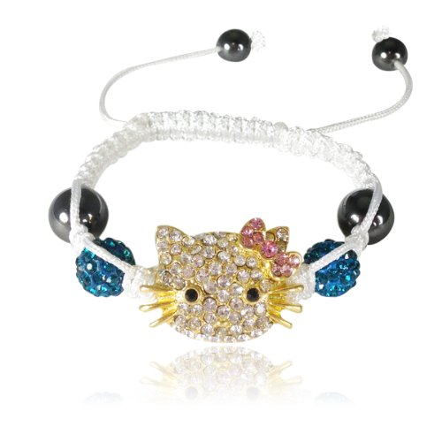 AllyDrew Children's Kitty Shamballa Bracelet - Blue with Pink Bow