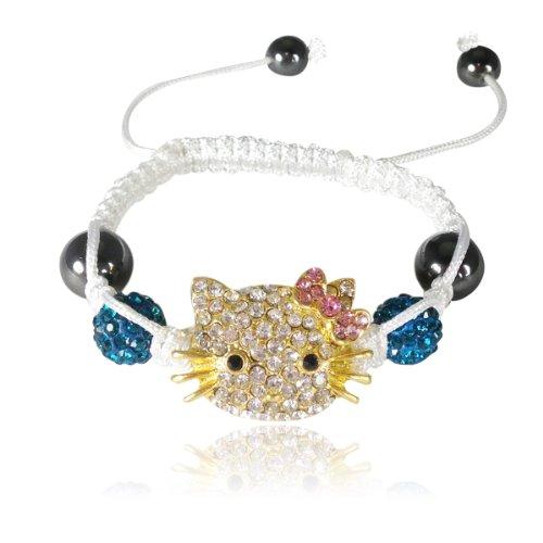 AllyDrew Children's Kitty Shamballa Bracelet - Blue with Pink Bow