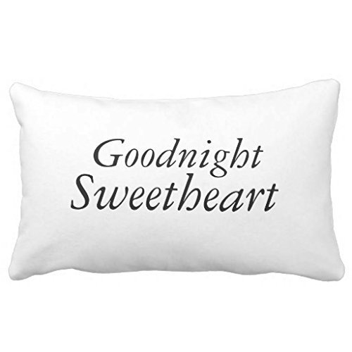 "Goodnight Sweetheart Personalized Custom Cotton & Polyester Soft Rectangle Pillow Case Cover -12""x20"""