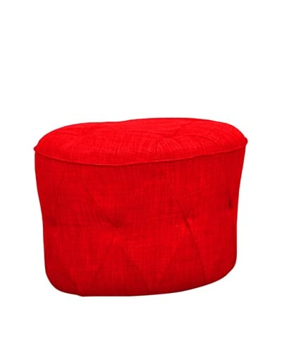 International Design USA Luxe Tufted Ottoman, Red