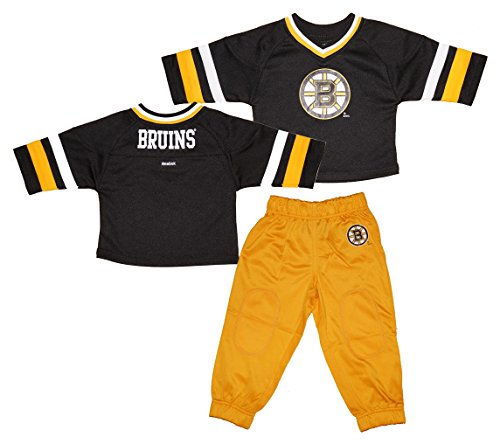 Reebok Boston Bruins Toddler 3/4 Sleeve Hockey Jersey and Pants Set - Black/Gold - 3T (Reebok Hockey Pants compare prices)