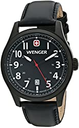 Wenger Men's 0541.101 Analog Display Swiss Quartz Black Watch