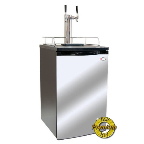 Kegco K199Ss-2P Kegerator Two Keg Beer Cooler - Premium Double Faucet D System Kit - Stainless Door