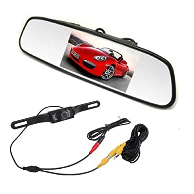 "AGPtek® 2013 New 4.3"" TFT LCD Car Rear View Rearview DVD Mirror Monitor + Backup Night Vision IR Camera (Auto Switch ON/OFF)"