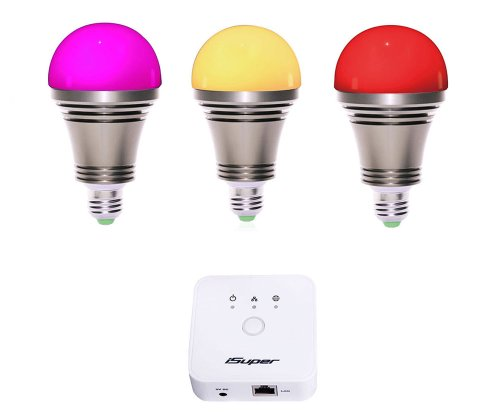 Isuper Irainbow001 Wi-Fi A19 Zigbee Smart Led Bulb For Lighting Automation With Iphone/Android Control, Bronze
