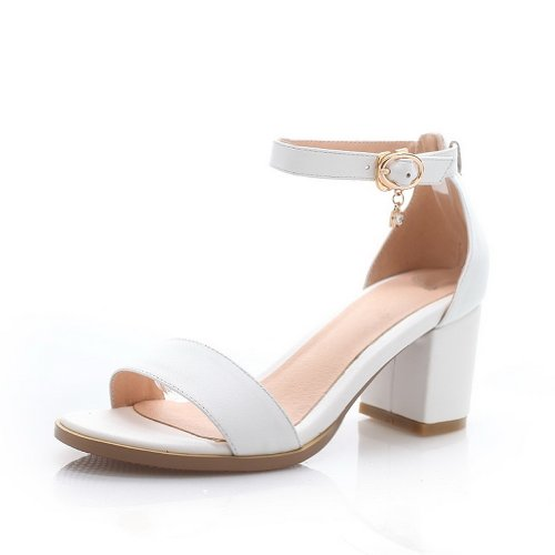 WeenFashion Womens Open Toe Kitten Heel Chunky Heels Cow Leather Soft Material Solid Sandals