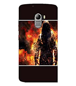 PrintDhaba Fire Man D-1355 Back Case Cover for LENOVO VIBE X3 c78 (Multi-Coloured)