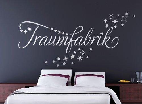 grandora w708 wandtattoo wort traumfabrik im sternenschweif schlafzimmer wei 150 x 54 cm. Black Bedroom Furniture Sets. Home Design Ideas
