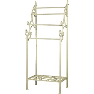 The Best  Shabby Chic Free Standing TOWEL/ Display RAIL STAND in Cream