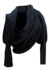 Women Solid Scarf with Sleeves Crochet Knit Long Soft Wrap Shawl Scarves (Black)