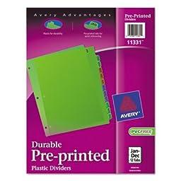 Avery Preprinted Monthly Plastic Divider - 12 x Divider - PrintedJan-Dec - 12 Tab(s)/Set - 8.50\