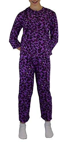 Mädchen Zweiteiliger Schlafanzug/ Pyjama super weich Gr.: 6 - 14 / 116 - 164 mit einer Knopfleiste am Hals Lila 6 116-122