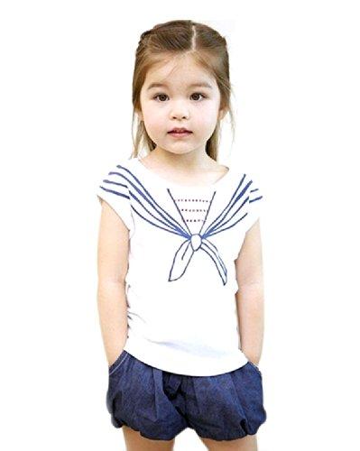 Urparcel Girls Tops T-Shirts Tie Print Navy Pattern Short Sleeve Crew Neck 1-5Y