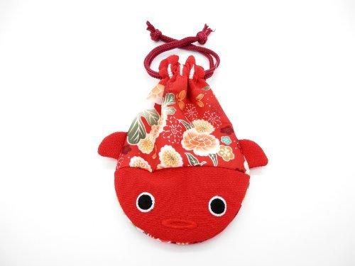 Traditional Japanese Pattern Pouch Bag (Kingyo Kinchaku) (Red) (Small bag) - 1