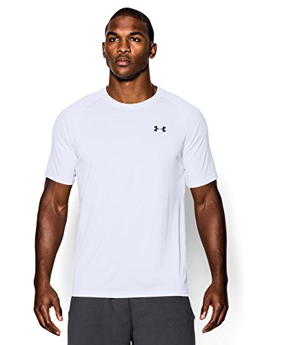 Men's UA TechTM Shortsleeve T-Shirt Tops by Under Armour (White/Black, Large)