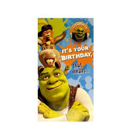 Clinton Cards Shrek Card With Badge Birthday Cards