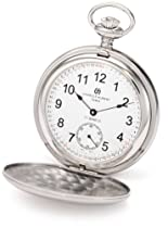 Charles-Hubert, Paris 3908-WRR Premium Collection Stainless Steel Satin Finish Double Hunter Case Mechanical Pocket Watch