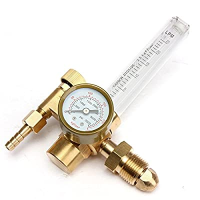 GOCHANGE CGA580 Mig/Tig Flow Meter Regulator, CO2 Argon Pressure Reducer Gauge Weld Flowmeter - Full Copper - 10 to 60 cfh