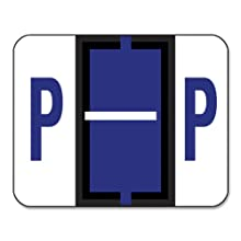 Smead A-Z Color-Coded Bar-Style End Tab Labels, Letter P, Violet, 500 per Roll (67086)