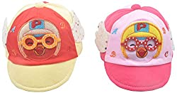 Kandyfloss Babies Caps - Pack of 2 Caps (MRHKFCAPS03, Multi-Colored, 3-6 Months)