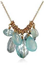 """Dana Kellin Gold-Filled Blue and Green Chalcedony Necklace, 16"""""""