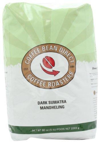 Coffee Bean Direct Dark Sumatra Mandheling, Whole Bean Coffee, 5-Pound Bag