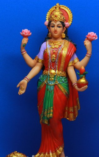 Hindu Hinduism Colorful Lakshmi Goddess Of Wealth Prosperity Statue Figurine Deity Of Beauty