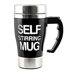 ShopAIS Automatic Coffee Mixing Cup Self Stirring Coffee Mug - Black