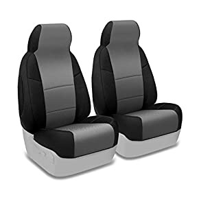 Coverking Custom Fit Front 50/50 Bucket Seat Cover for Select Dodge Ram 2500/3500 Models - Spacermesh 2-Tone (Gray with Black Sides)