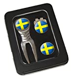 Asbri Golf Spirit Pitchfork & Cap Clip & Ballmarker in Tin Golf Gift Pack - Sweden